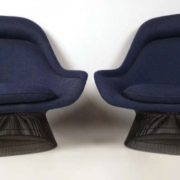 A pair of bronze Platner Lounge Chairs with Ottomans